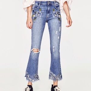 Zara Embroidered Crop Flare Jeans